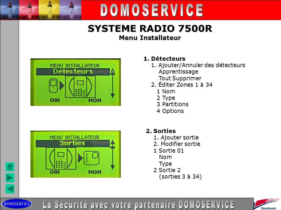 SYSTEME RADIO 7500R Menu Installateur