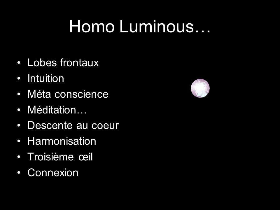 Homo Luminous… Lobes frontaux Intuition Méta conscience Méditation…