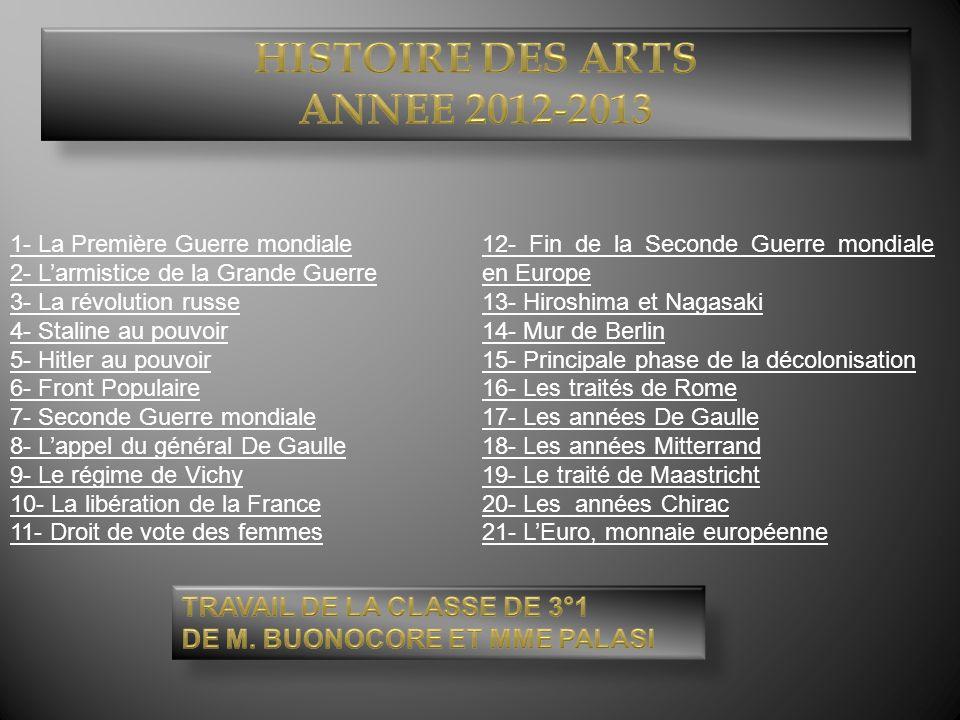 Histoire des arts Annee 2012-2013