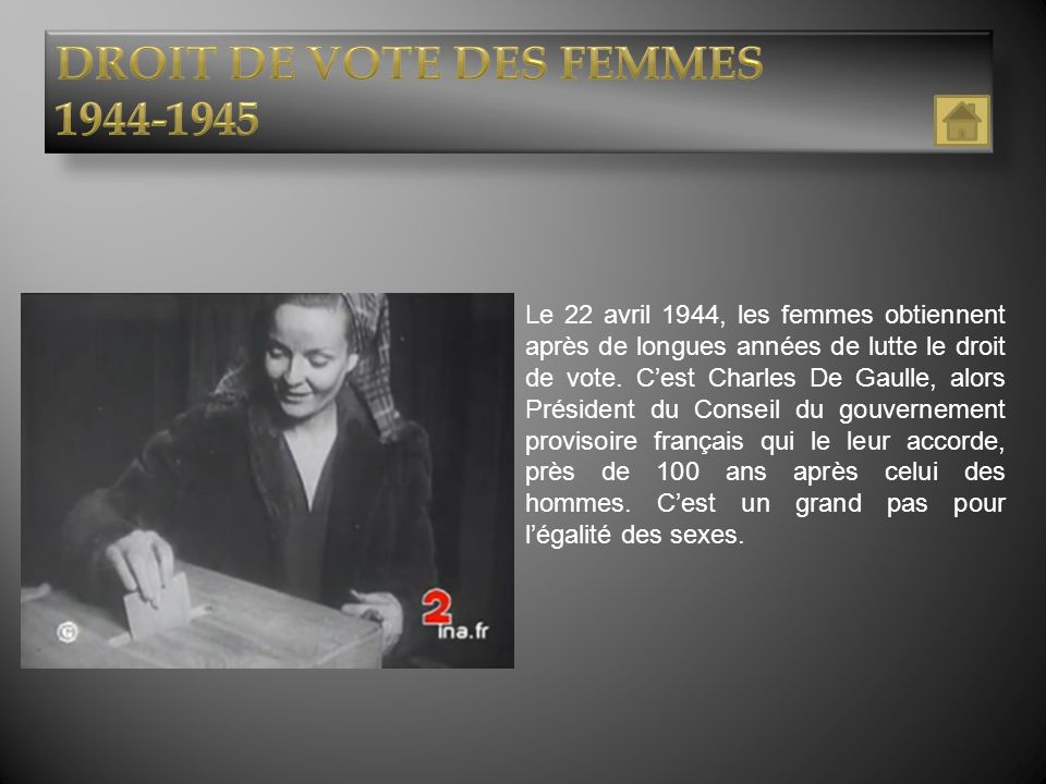 DROIT DE VOTE DES FEMMES 1944-1945