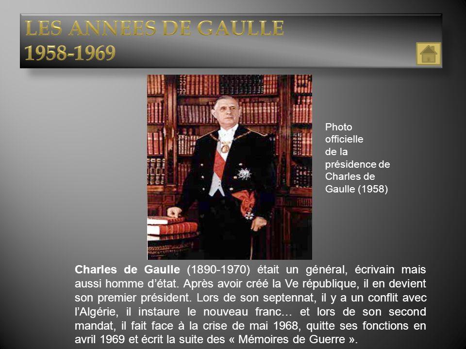 LES ANNEES DE GAULLE 1958-1969. Photo officielle. de la présidence de Charles de Gaulle (1958)