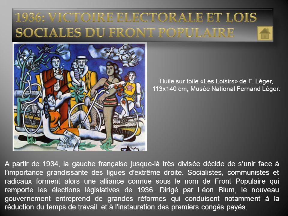 1936: VICTOIRE ELECTORALE ET LOIS SOCIALES DU FRONT POPULAIRE