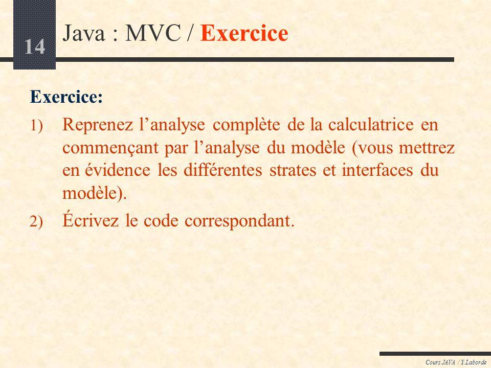 Java : MVC / Exercice Exercice: