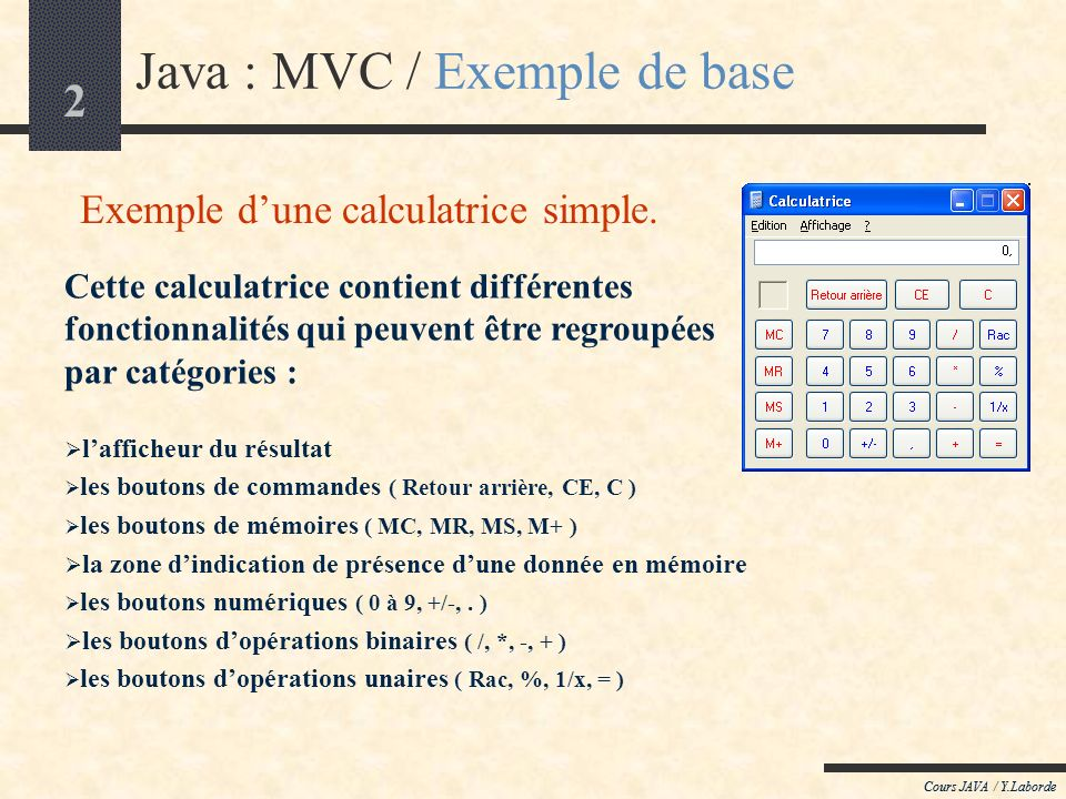 Exemple d'une calculatrice simple.