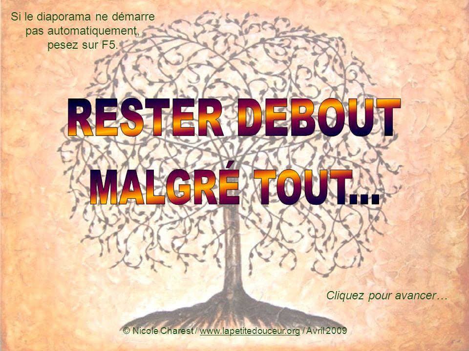 RESTER DEBOUT MALGRÉ TOUT...