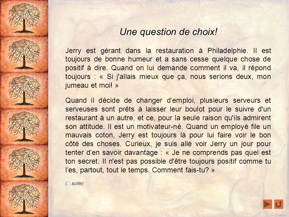 Une question de choix!