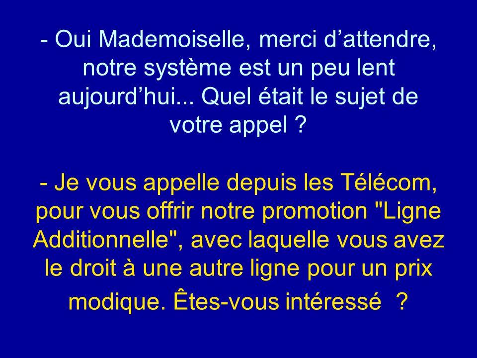 Oui Mademoiselle, merci d'attendre, notre système est un peu lent aujourd'hui... Quel était le sujet de votre appel - Je vous appelle depuis les Télécom, pour vous offrir notre promotion Ligne Additionnelle , avec laquelle vous avez le droit à une autre ligne pour un prix modique. Êtes-vous intéressé