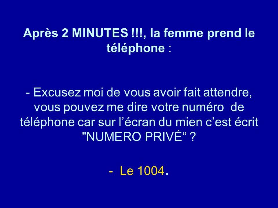 Après 2 MINUTES !!!, la femme prend le téléphone : - Excusez moi de vous avoir fait attendre, vous pouvez me dire votre numéro de téléphone car sur l'écran du mien c'est écrit NUMERO PRIVÉ - Le 1004.