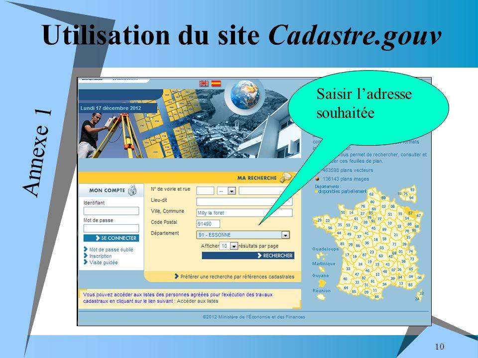Utilisation du site Cadastre.gouv