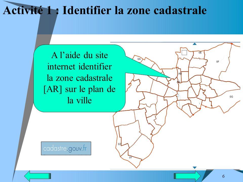 Activité 1 : Identifier la zone cadastrale