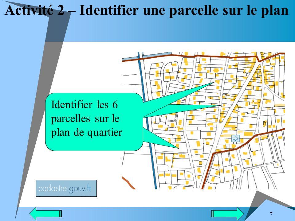 Activité 2 – Identifier une parcelle sur le plan