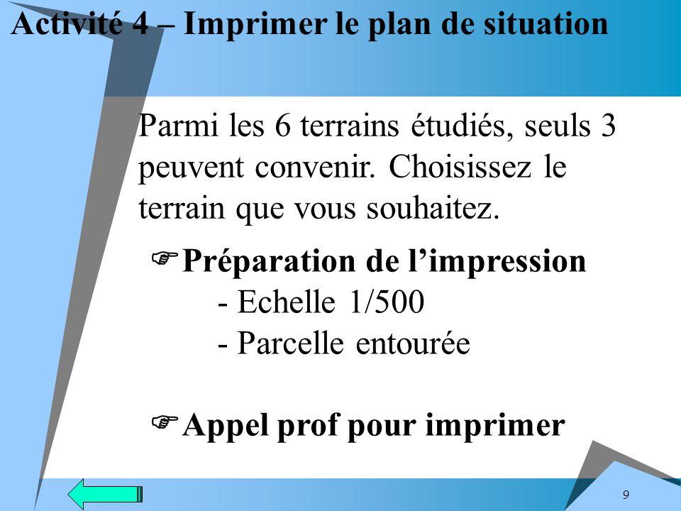 Activité 4 – Imprimer le plan de situation
