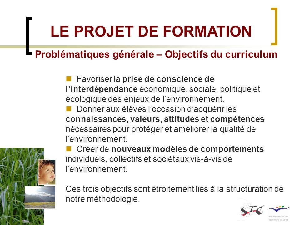 LE PROJET DE FORMATION Problématiques générale – Objectifs du curriculum.