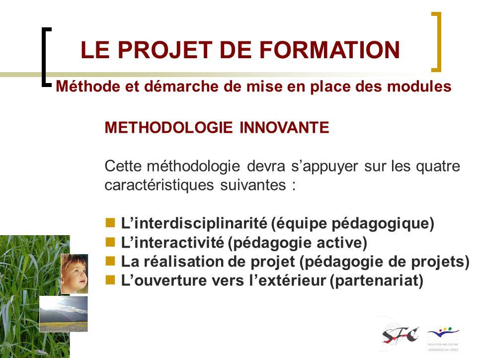 LE PROJET DE FORMATION Méthode et démarche de mise en place des modules. METHODOLOGIE INNOVANTE.