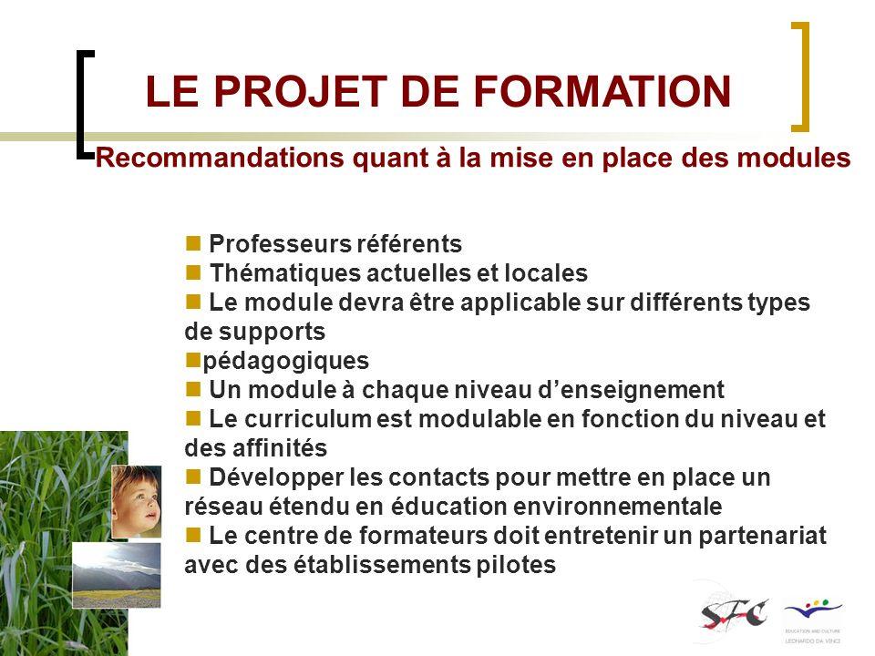 LE PROJET DE FORMATION Recommandations quant à la mise en place des modules. Professeurs référents.