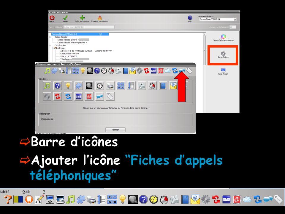 Barre d'icônes Ajouter l'icône Fiches d'appels téléphoniques