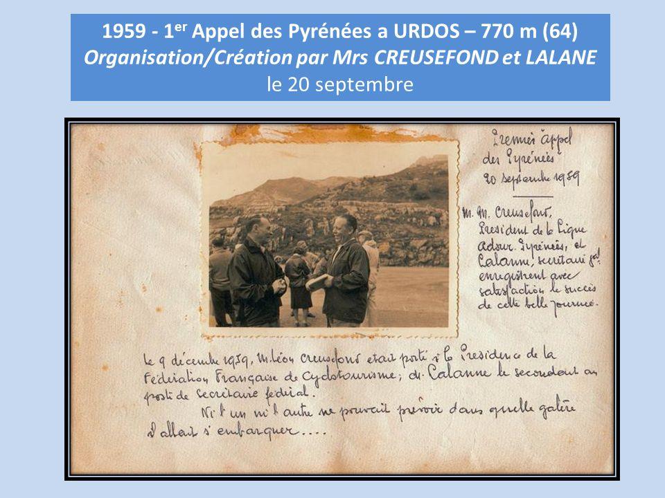 1959 - 1er Appel des Pyrénées a URDOS – 770 m (64)