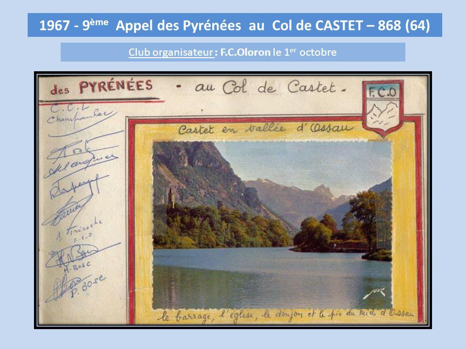 1967 - 9ème Appel des Pyrénées au Col de CASTET – 868 (64)