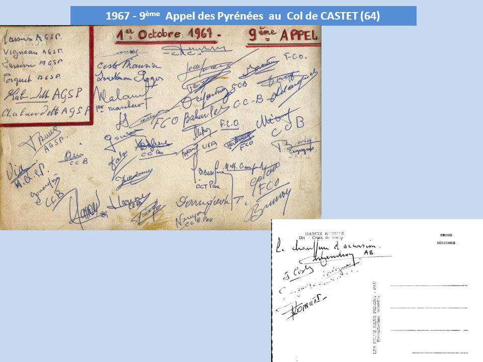 1967 - 9ème Appel des Pyrénées au Col de CASTET (64)