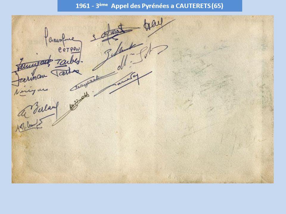 1961 - 3ème Appel des Pyrénées a CAUTERETS (65)