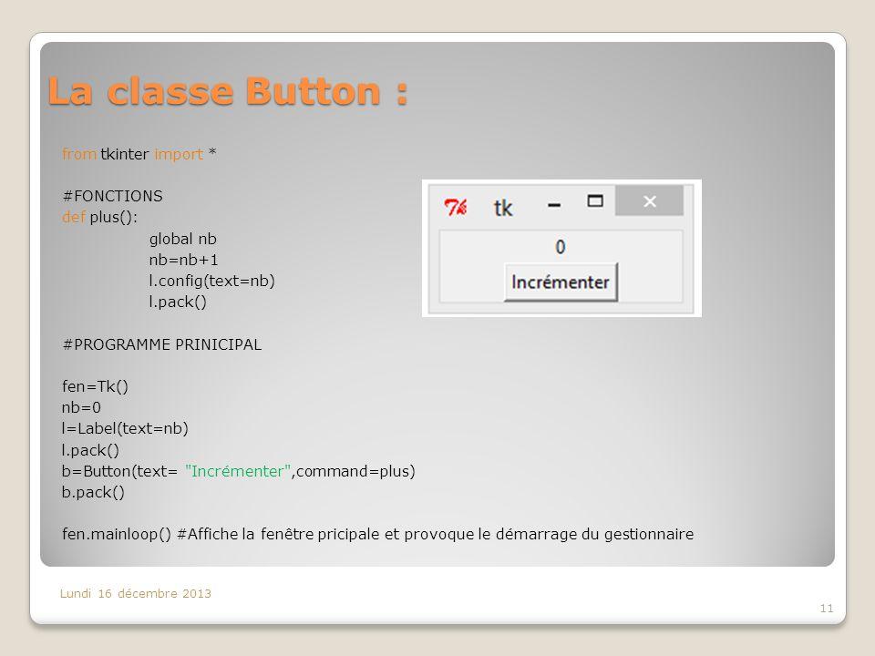 La classe Button :