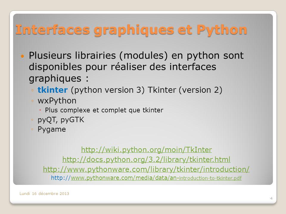 Interfaces graphiques et Python