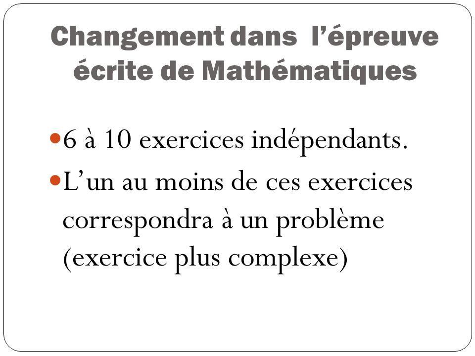Changement dans l'épreuve écrite de Mathématiques