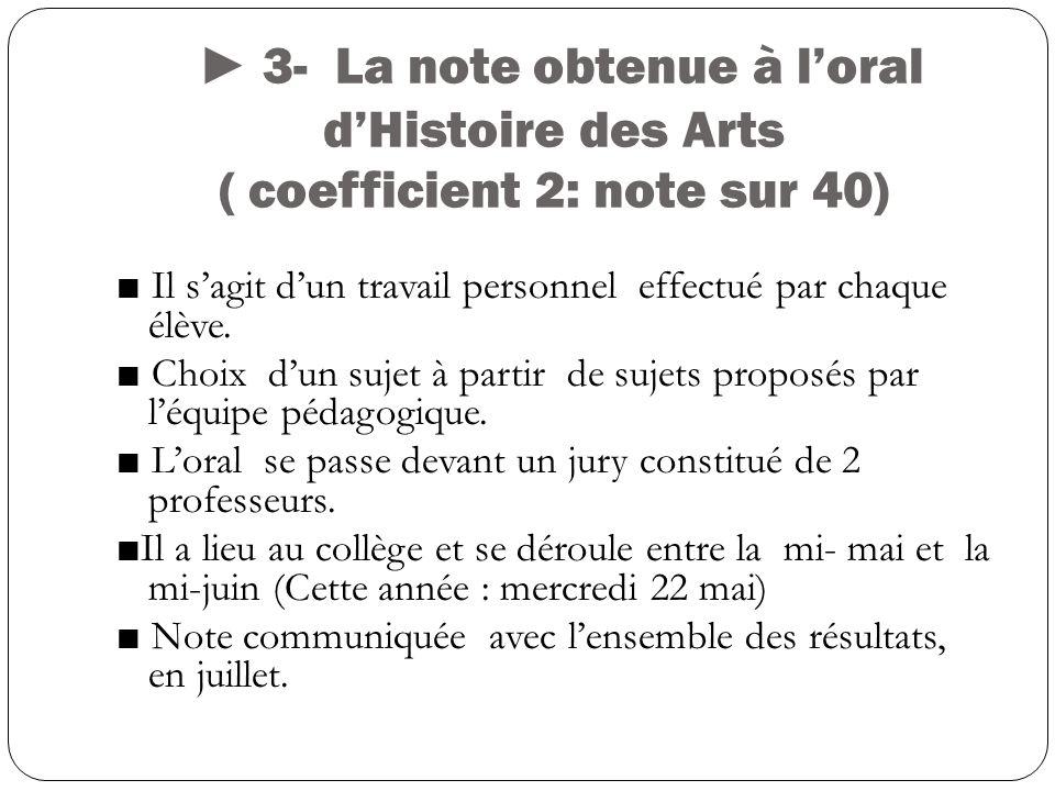 ► 3- La note obtenue à l'oral d'Histoire des Arts ( coefficient 2: note sur 40)