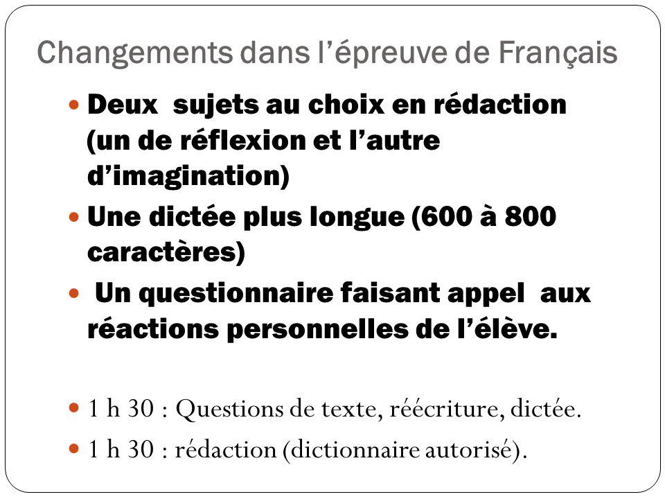Changements dans l'épreuve de Français