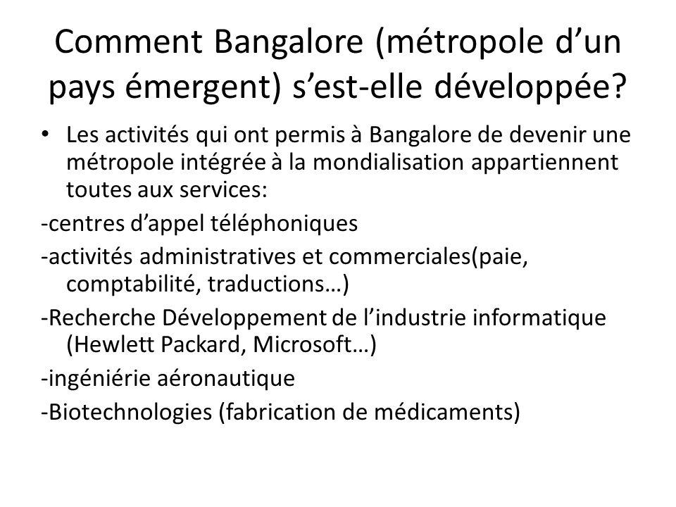 Comment Bangalore (métropole d'un pays émergent) s'est-elle développée