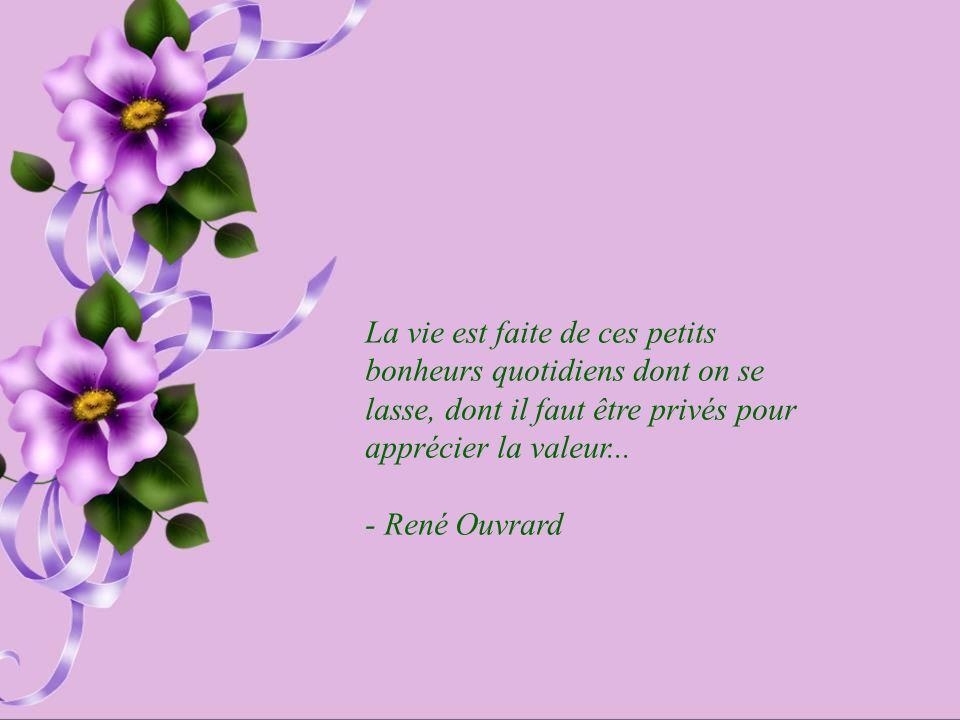 La vie est faite de ces petits bonheurs quotidiens dont on se lasse, dont il faut être privés pour apprécier la valeur...