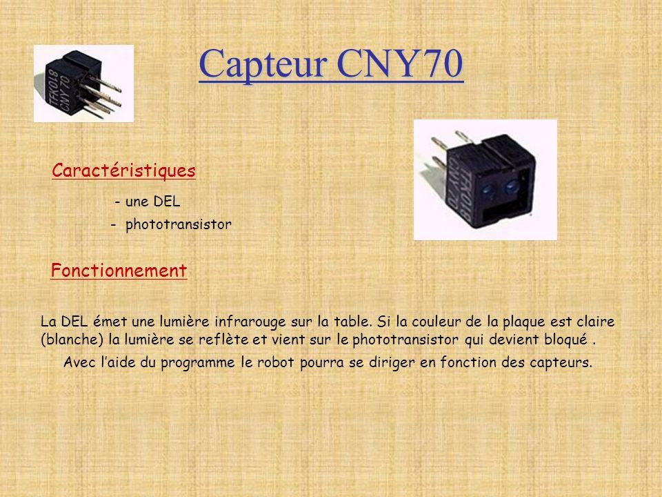Capteur CNY70 Caractéristiques - une DEL Fonctionnement