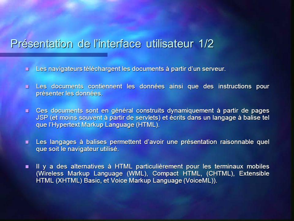 Présentation de l'interface utilisateur 1/2