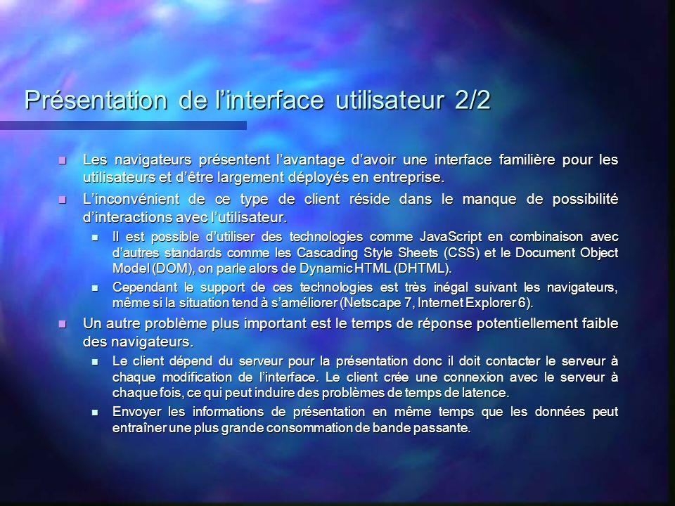 Présentation de l'interface utilisateur 2/2