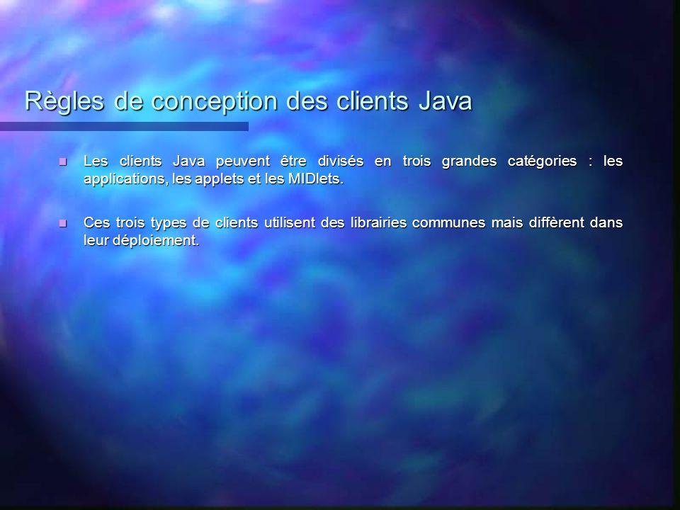 Règles de conception des clients Java