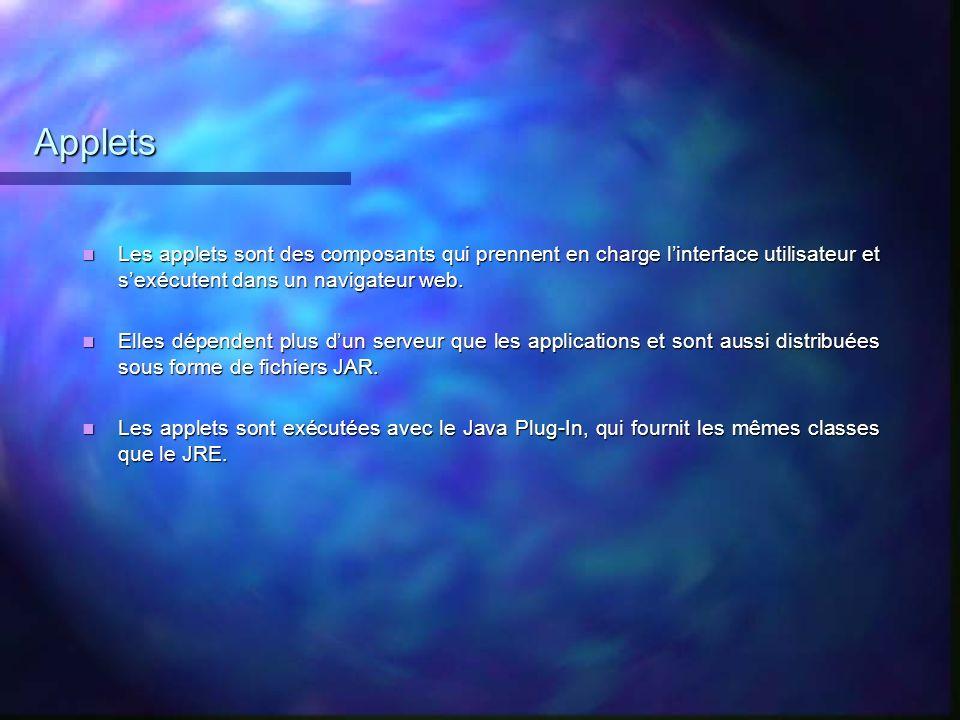 Applets Les applets sont des composants qui prennent en charge l'interface utilisateur et s'exécutent dans un navigateur web.