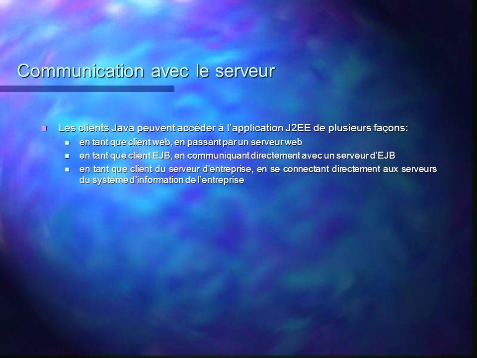 Communication avec le serveur
