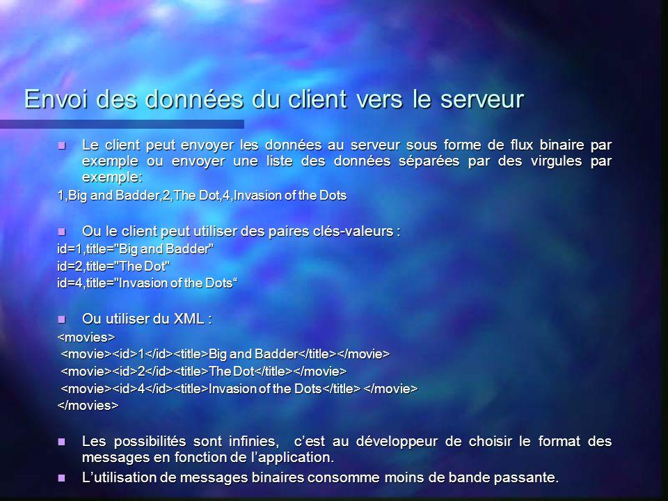 Envoi des données du client vers le serveur
