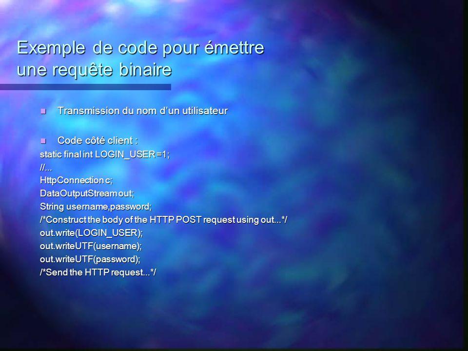 Exemple de code pour émettre une requête binaire