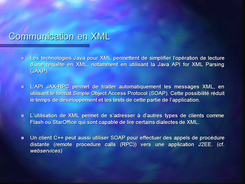 Communication en XML