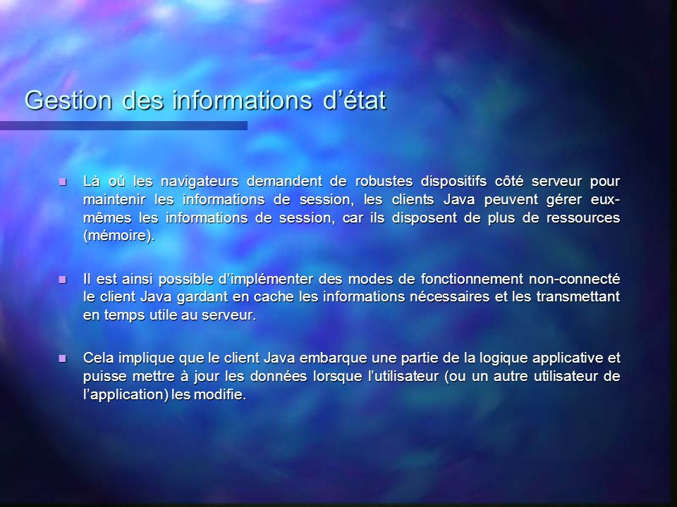 Gestion des informations d'état