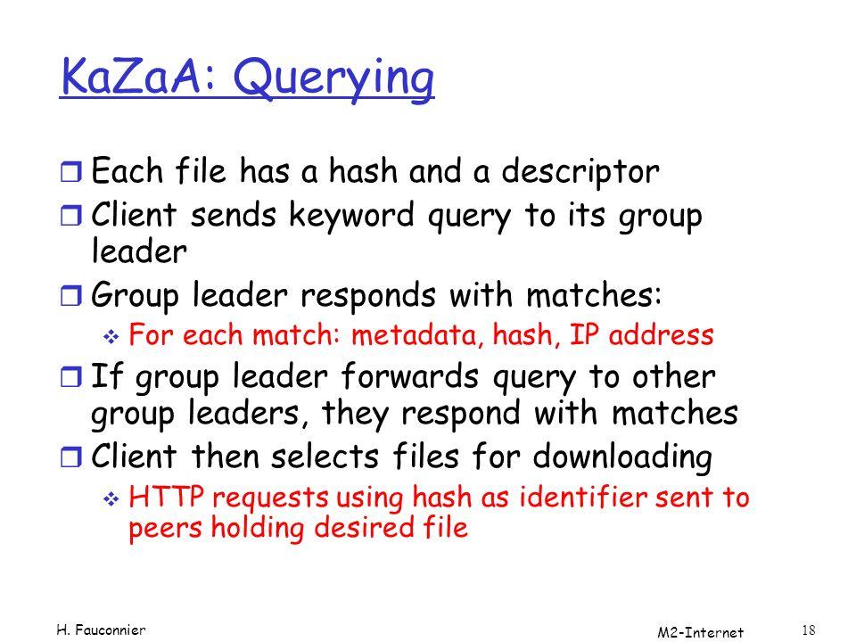 KaZaA: Querying Each file has a hash and a descriptor