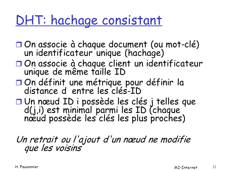 DHT: hachage consistant