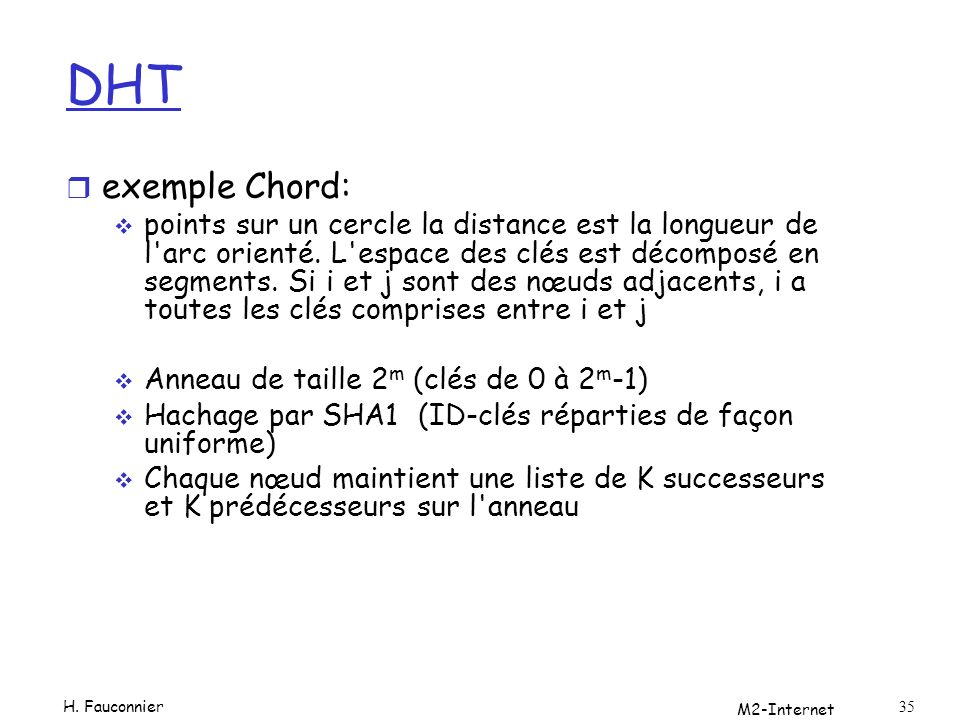 DHT exemple Chord: