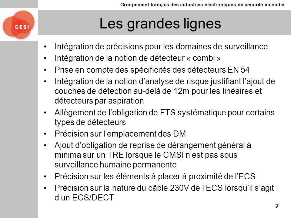 Les grandes lignes Intégration de précisions pour les domaines de surveillance. Intégration de la notion de détecteur « combi »