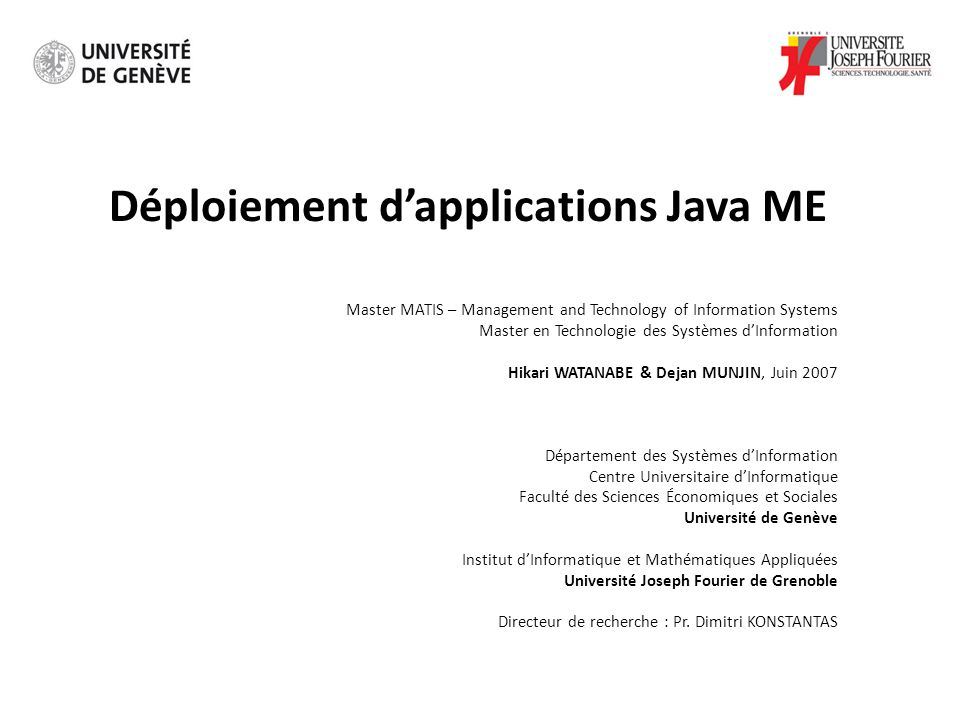 Déploiement d'applications Java ME