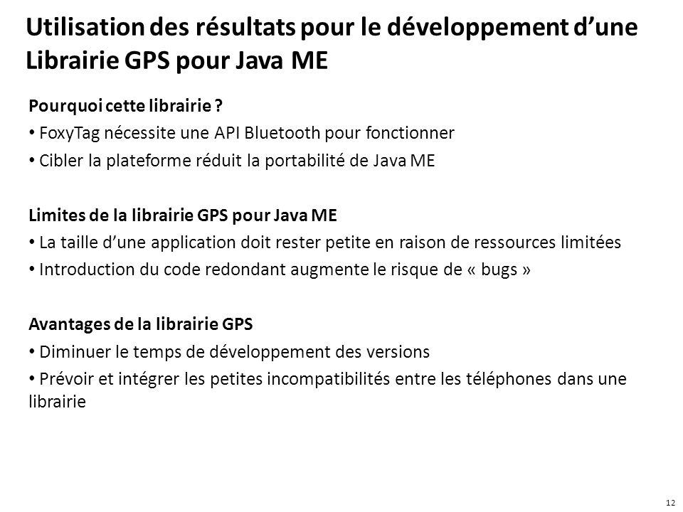 Utilisation des résultats pour le développement d'une Librairie GPS pour Java ME