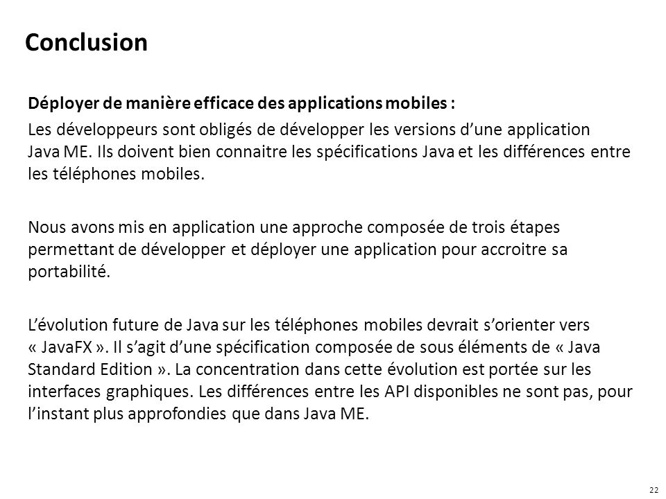 Conclusion Déployer de manière efficace des applications mobiles :