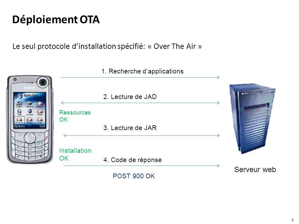 Le seul protocole d'installation spécifié: « Over The Air »