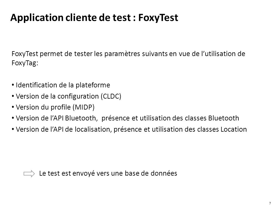 Application cliente de test : FoxyTest
